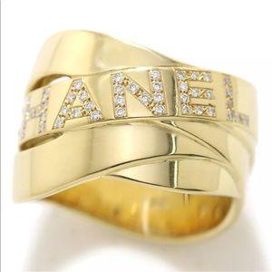 CHANEL Buldoc 18KT Gold & Diamonds Ring Sz 8.5 US